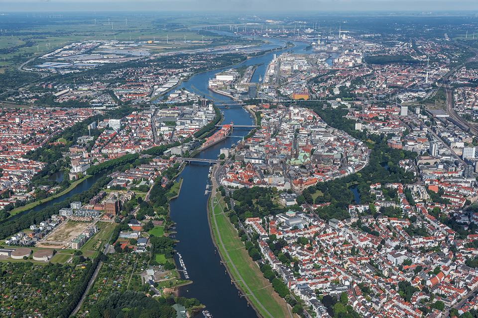 Luftaufnahme der Bremer Innenstadt