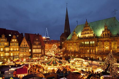 Weihnachtliches Bremen aus der Luft